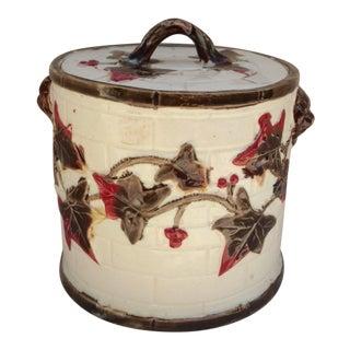 19th Century Majolica Lidded Pot