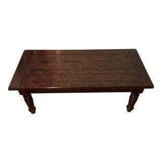 Pottery Barn Dark Wood Farmhouse Coffee Table