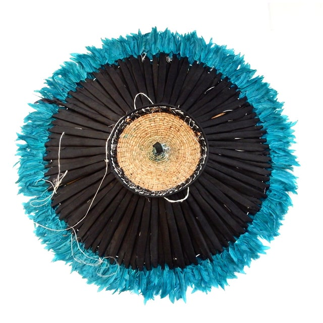 Ceremonial Turquoise Juju Hat Wall Hanging - Image 4 of 7
