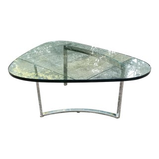 Mid-Century Modern Italian Glass & Chrome Boomerang Style Coffee Table
