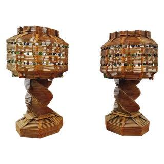 Folk Art Lamps - Pair
