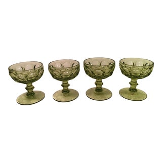 Mid-Century Green Champagne Coupes - Set of 4