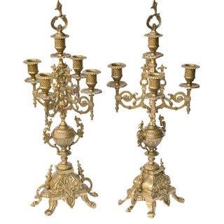 Ornately Carved Brass Candelabras - A Pair