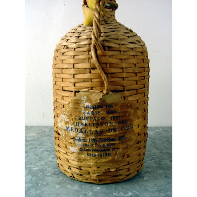 Vintage Bacardi Rum Wicker Covered Bottle - Image 4 of 5