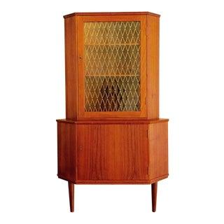 Mid-Century Modern Corner Teak Wood Cabinet