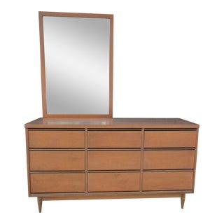 Mid Century Modern Broyhill Nine Drawer Dresser with Mirror