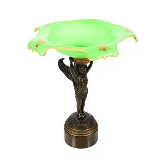 19th C. Bronze Cupid Holding Green Opaline Bowl