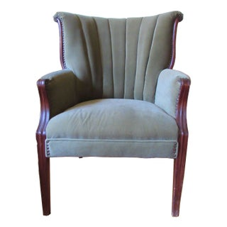 1930s Velvet Upholstered Fan Back Chair