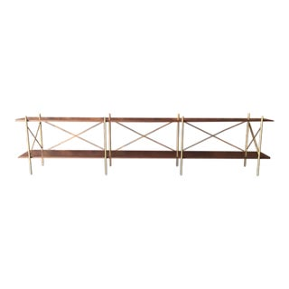 Mid-Century Style Walnut Wrought Iron Long Shelf