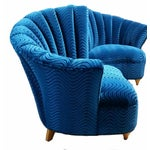 Image of Hollywood Regency Asymmetrical Blue Velvet Chairs - A Pair
