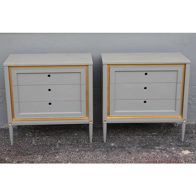 1960s Slate Blue & Gilt Accent Bachelor's Chests - A Pair - Image 2 of 10