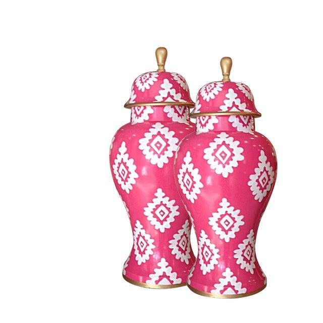 Dana Gibson Pink Block Print Jar - Image 2 of 2