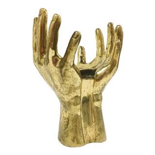 Mid-Century Solid Brass Hands Lamp