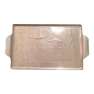 Antique Hammered Aluminum Geese Tray With Handles
