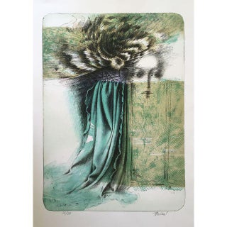 Vintage Surreal Abstract Woman's Face Lithograph