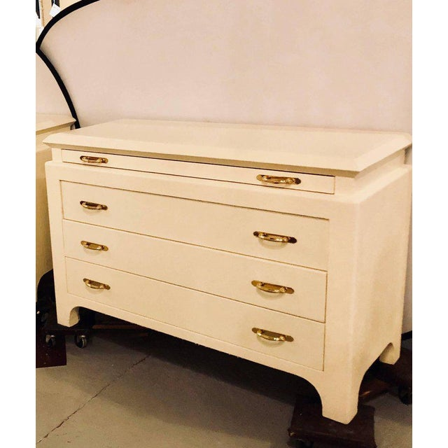 Karl Springer Style Linen Wrapped Commodes or Chests - A Pair - Image 2 of 11