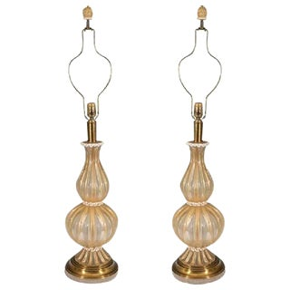 BEAUTIFUL PAIR OF BAROVIER & TOSO MURANO GLASS TABLE LAMPS WITH GOLD INCLUSIONS