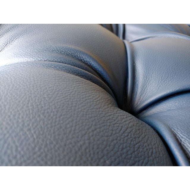 Gambrell Renard Tufted Blue Leather Ottoman - Image 3 of 7