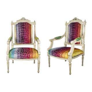 Rainbow Velvet Louis XVI Armchairs - A Pair