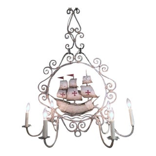 Mid-20th Century French Painted Iron 6-Light Sailboat Chandelier
