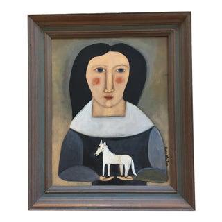 "Contemporary Folk Artist Rose Walton ""White Horse"" Painting"