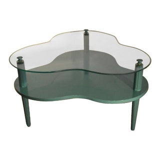 Green Clover Leaf Coffee Table with Glass Top
