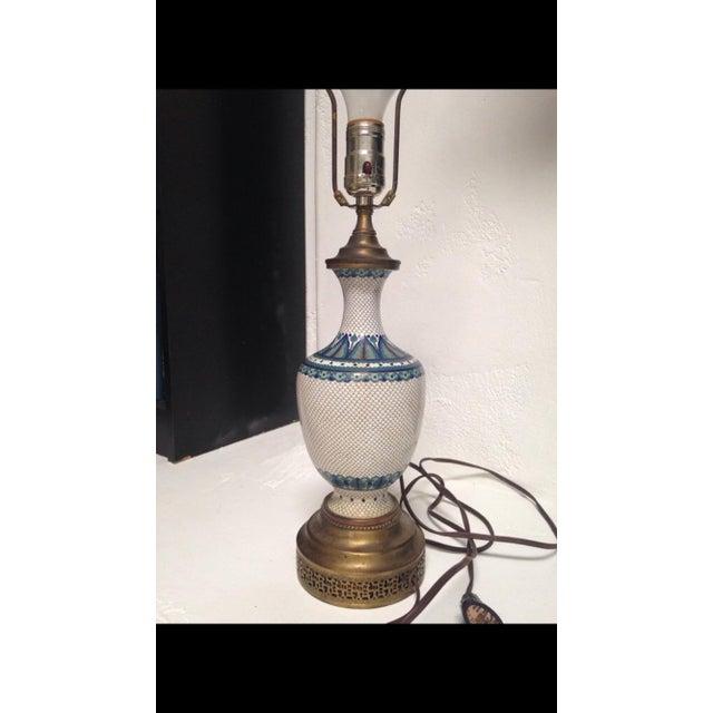 Vintage Fish Scale Cloisonné Lamp - Image 2 of 7