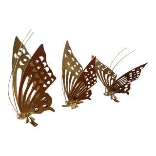 Vintage Brass Butterflies - Set of 3