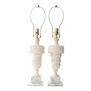 Carved Italian Alabaster Lamps - A Pair
