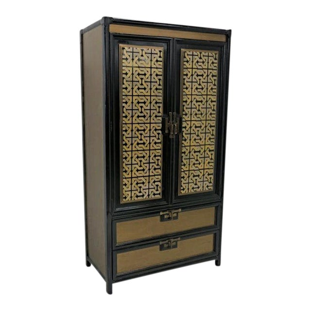 Mid-Century Gold Black Laquer Armoire Wardrobe - Image 1 of 10