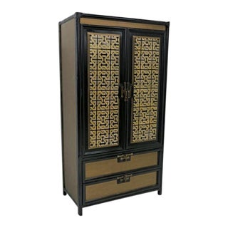 Mid-Century Gold Black Laquer Armoire Wardrobe