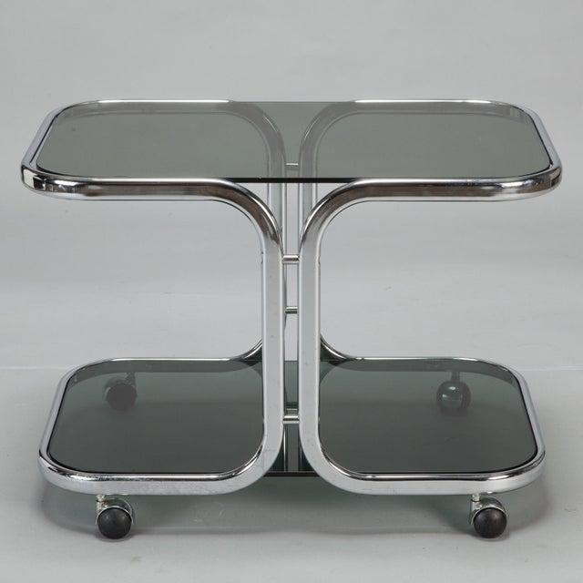 Image of Mid-Century Black Glass Chrome Bar Cart