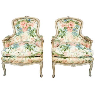 Jansen Louis XVI Bergere Chairs - Pair