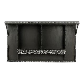 Vintage Moroccan Wood Shelf in Black & White