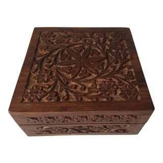 Indian Vintage Square Carved Wood Box