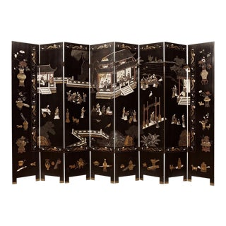 Large Coromandel 8 Panel Lacquer Screen