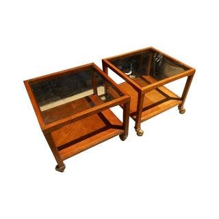 Drexel Mid-Century Parallel Walnut Tables - A Pair