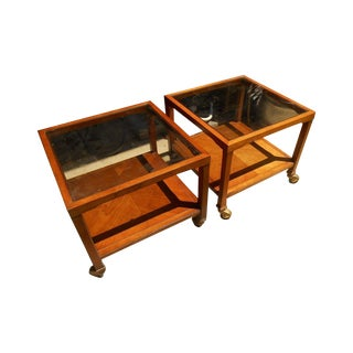 Drexel Mid-Century Parallel Walnut Tables - A Pair