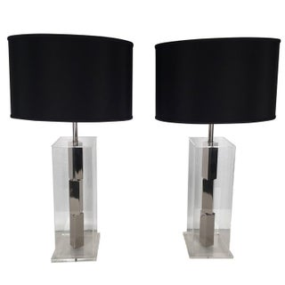 Architectural Lucite Lamps - A Pair
