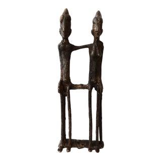 Vintage Dogon Bronze Seated Couple, Mali