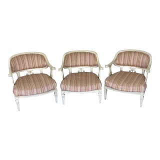 Dorothy Draper Style Hollywood Regency Palm Frond Bergere Chairs - Set of 3
