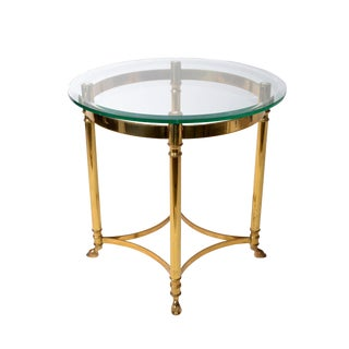 Italian Brass & Glass Hoof Feet Table