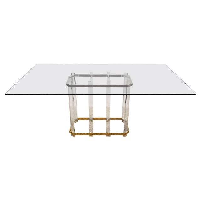 Vintage 1970s Acrylic & Brass Dining Table - Image 1 of 3
