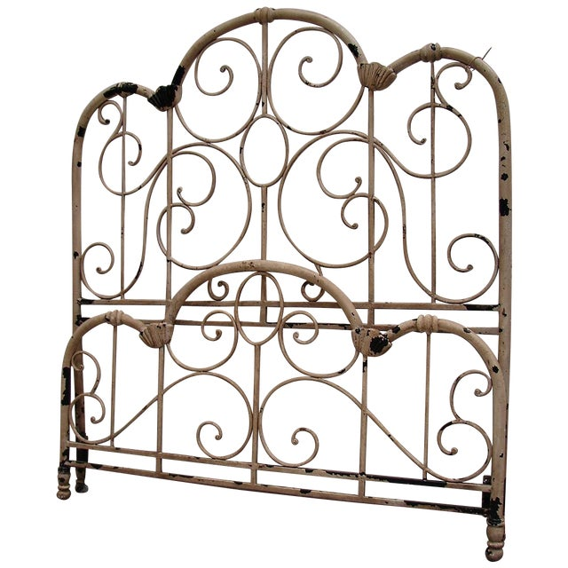 Distressed Wrought Iron Queen Bed - Image 1 of 3
