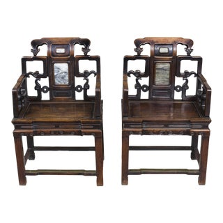 Pair of Brass & Marble-Mounted Carved Mahogany Open Armchairs