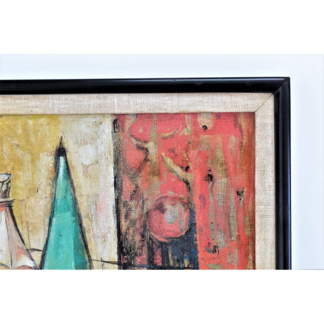1950s Mid-Century Modern Cubist Oil Painting by Kero S. Antoyan Abstract Expressionism Millennial Pink - Image 8 of 11
