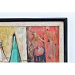 Image of 1950s Mid-Century Modern Cubist Oil Painting by Kero S. Antoyan Abstract Expressionism Millennial Pink