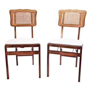 Mid Century Modern Stakmore White Vinyl Wood Folding Chairs - A Pair