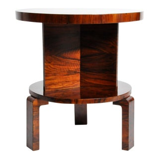 Art Deco Round Table with Shelf