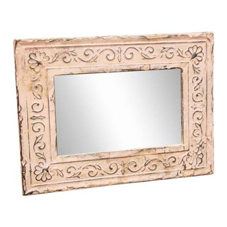 Pink Border Vine Tin Frame Mirror
